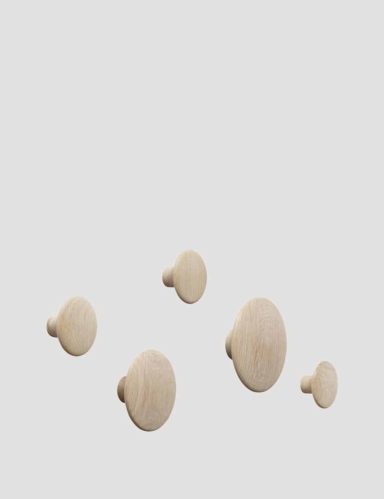 Dots Coat Hook - Set of 5 in Oak