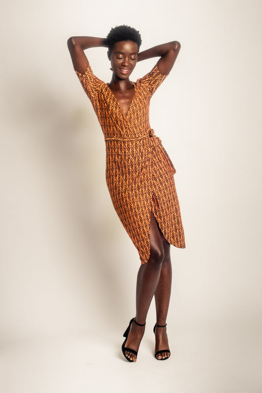 Animal inspired print wrap dress