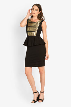 Metallic Paneled Peplum Dress