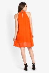 Orange Halter Sheath Dress