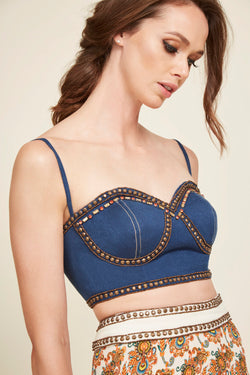 Embroidered Denim Bustier