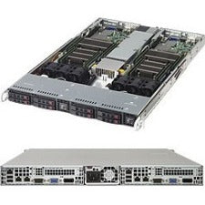 Supermicro 1028TR-T Barebone System - 1U Rack-mountable - Intel C612 Chipset - 2 Number of Node(s) - Socket LGA 2011-v3 - 2 x Processor Support - Black