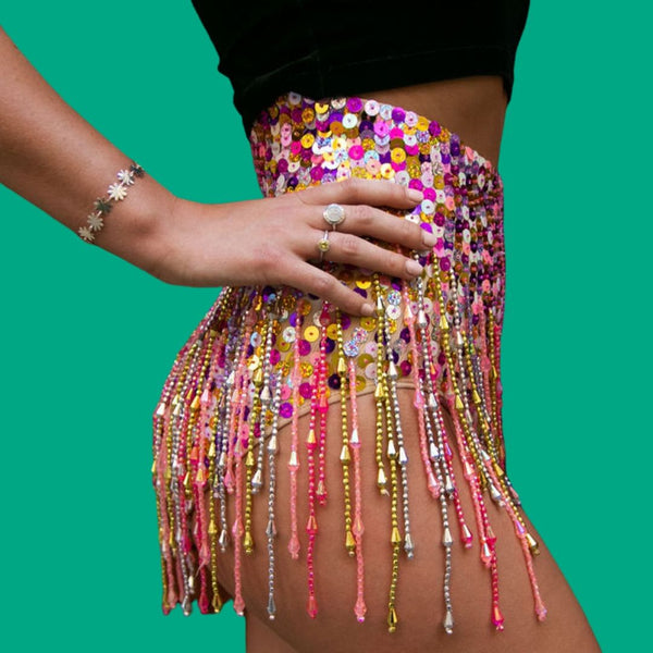 Pink Gold Silver Booty Shorts with Beads and Tassles