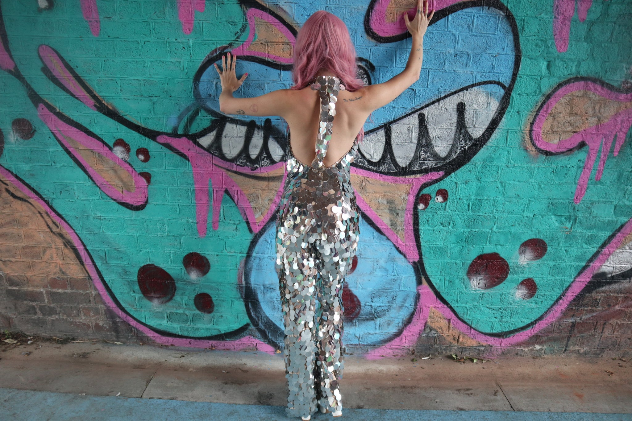 Pandisco Mirror Ball Silver Giant Sequin Jumpsuit