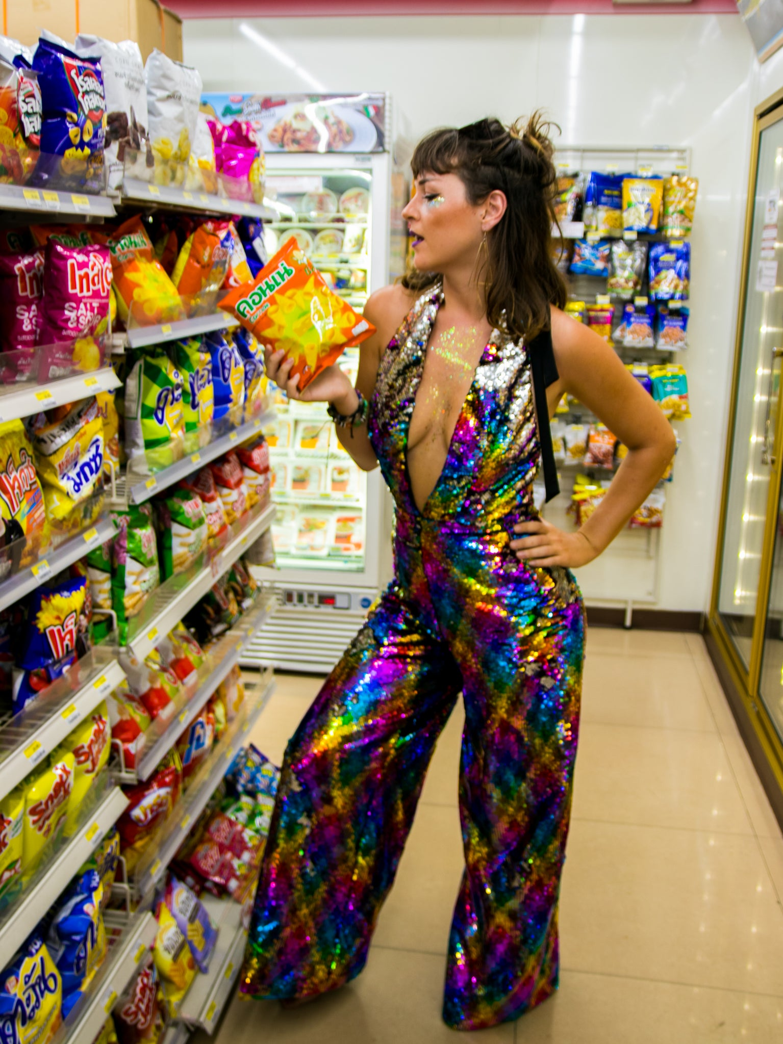 Rainbow Shimmer and Silver Sequins Jumpsuit with Plunge Neckline