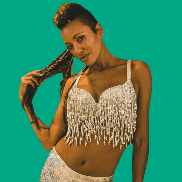 Mirror Ball Silver Sequin Bralette with Tassles