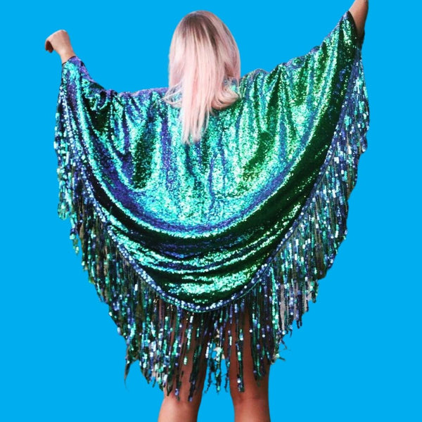 Mermaid Teal Short Sequin Kimono with Tassles