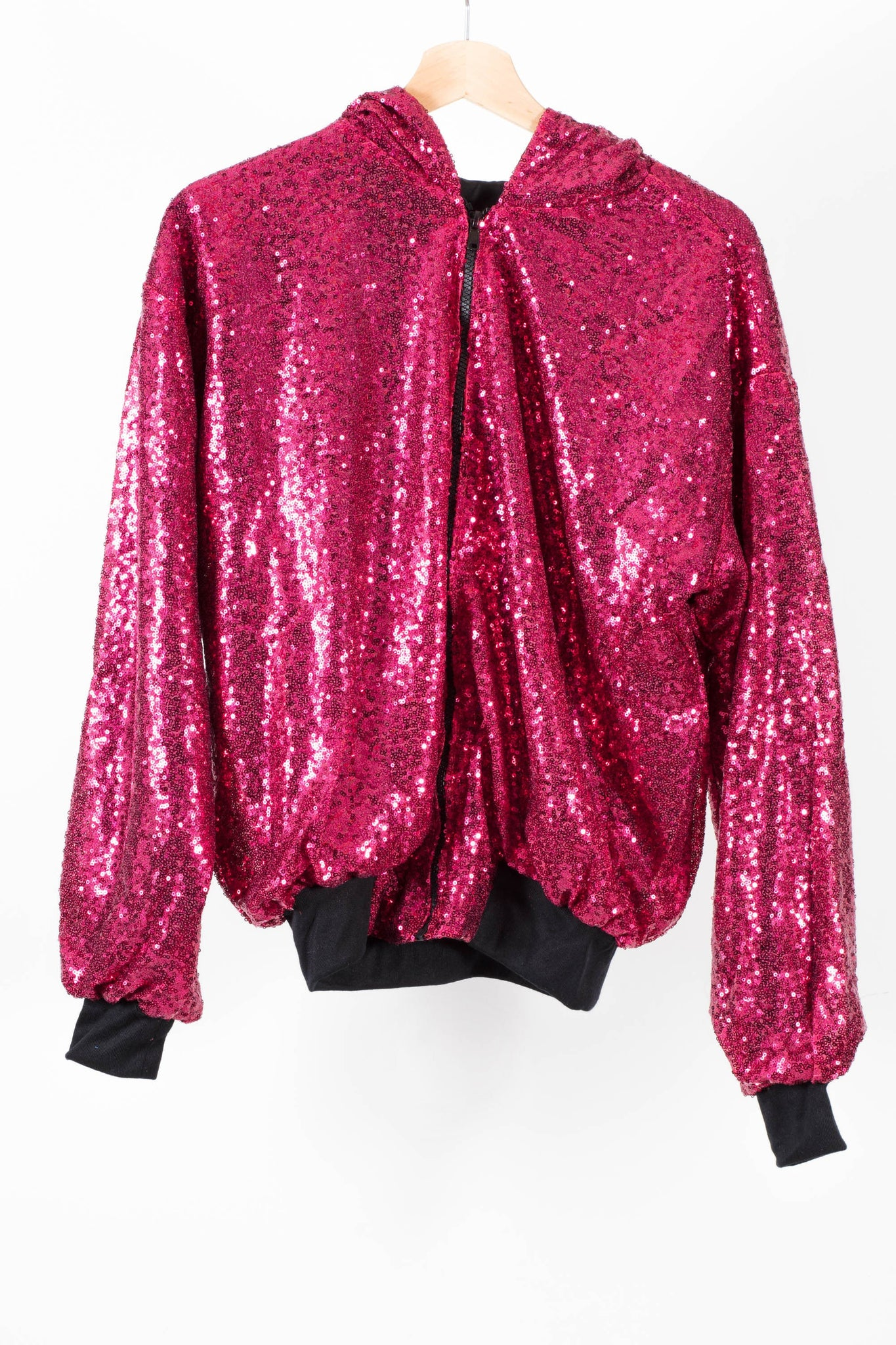 Ruby Red Sequin Hooded Bomber Jacket.