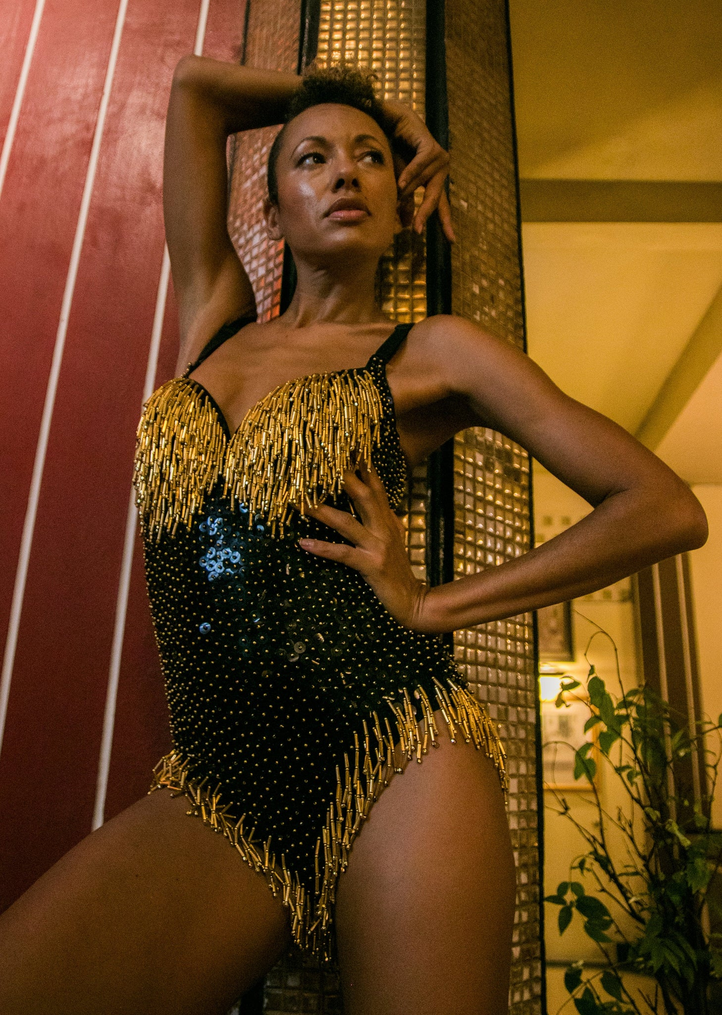 Midnight Gold Black Sequin Playsuit with Tassles