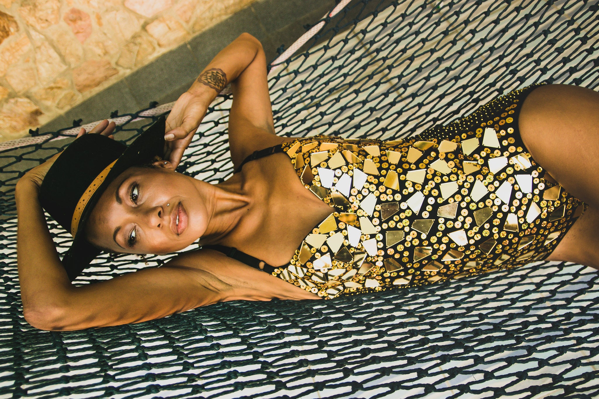 Gold mirrorball sequin playsuit
