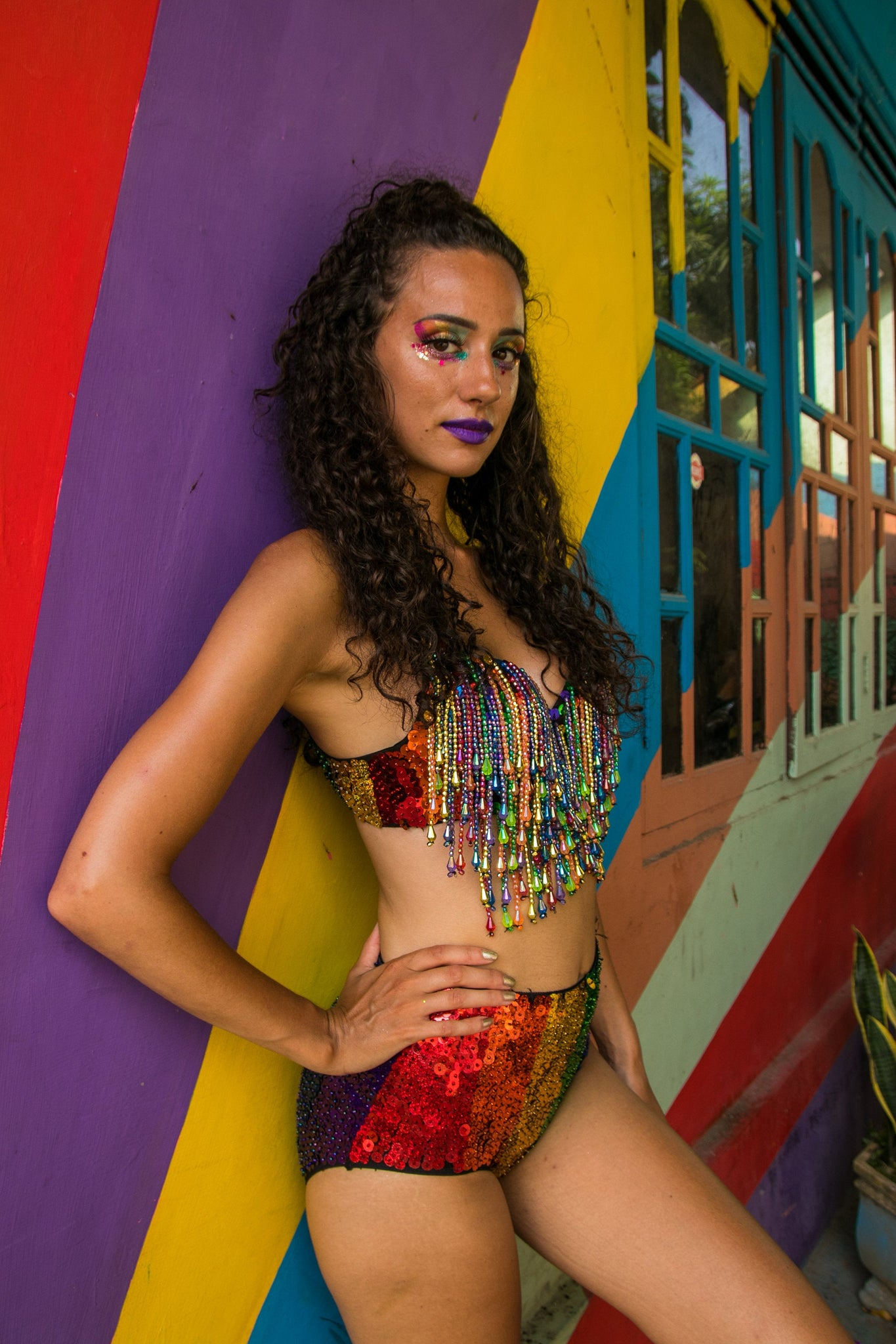 rainbow beads bra sequins