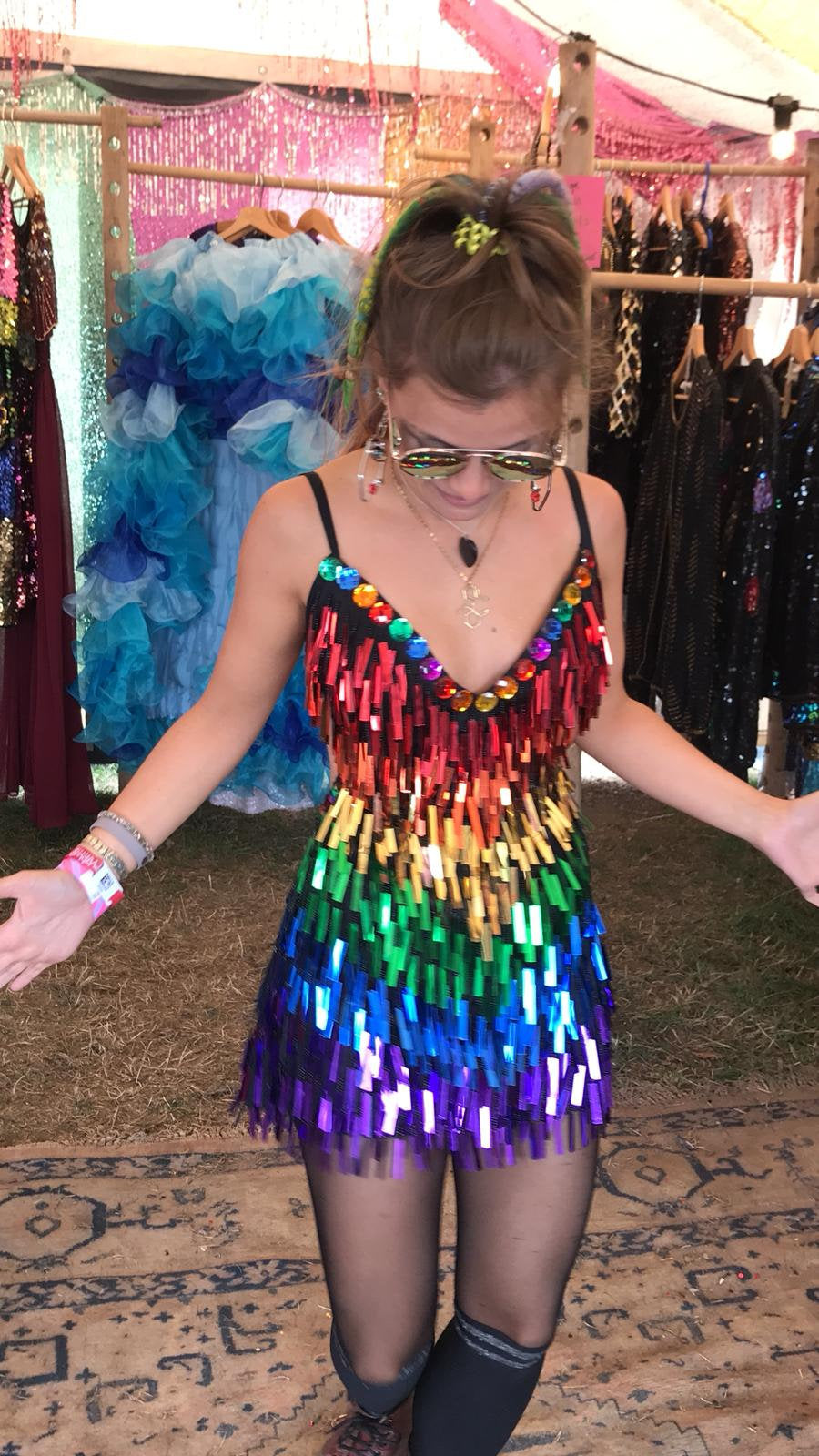 Rainbow Sequin Dress with Jewels and Tassles