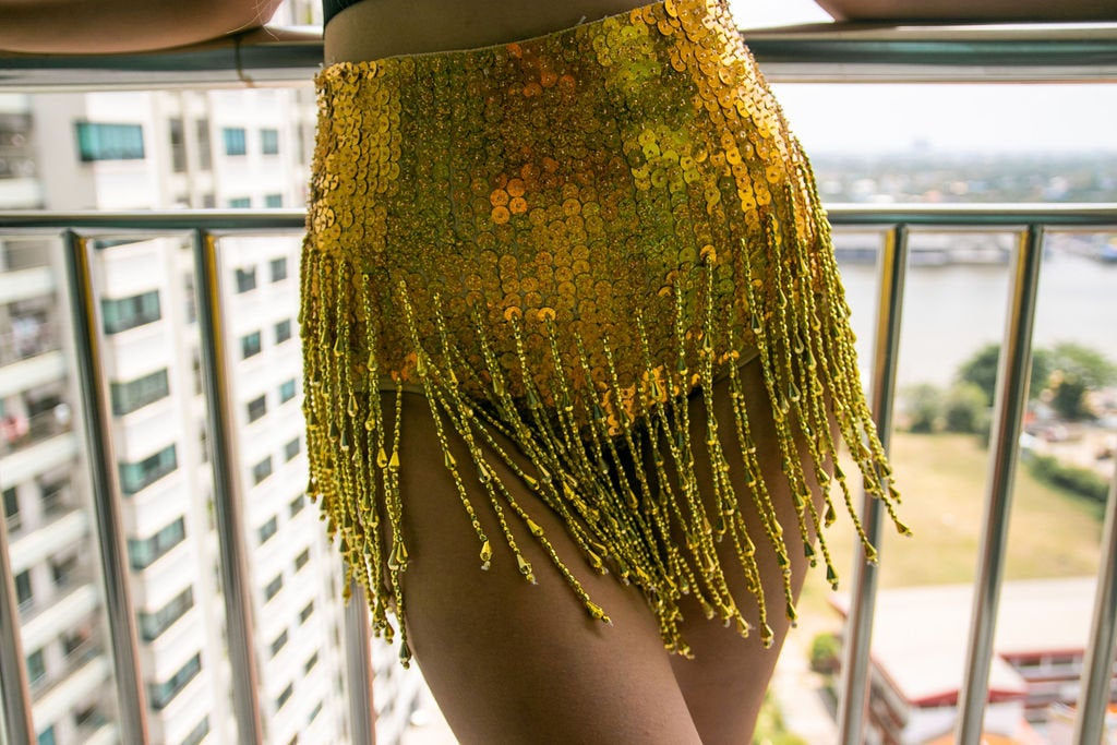 Gold Booty Sequin High Waisted Shorts with Beads and Tassles