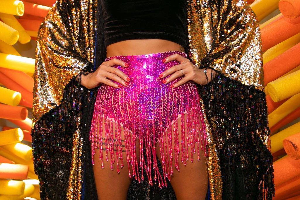 Hot Pink Booty Sequin Shorts with Beads and Tassles