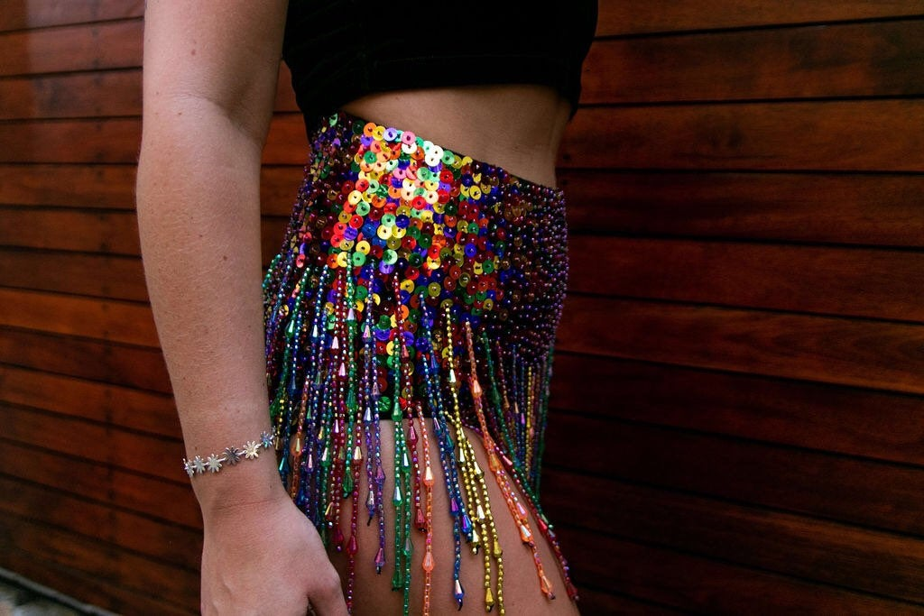 Rainbow Dotty Booty Sequin Shorts with Beads and Tassles