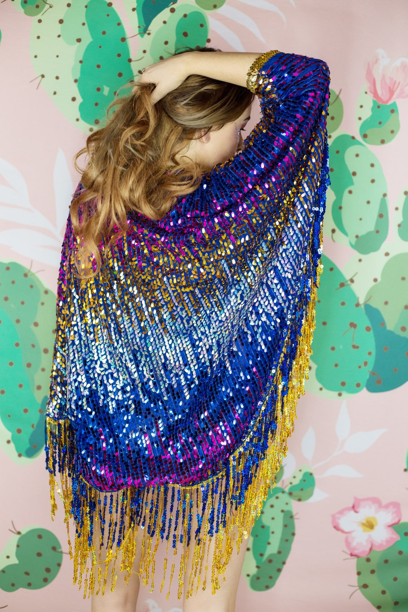 Bombshell Blue Purple Gold Sequin Kimono with Tassles