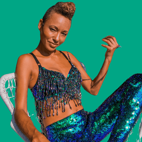 Mermaid Sequin Beads Bralette with Tassles