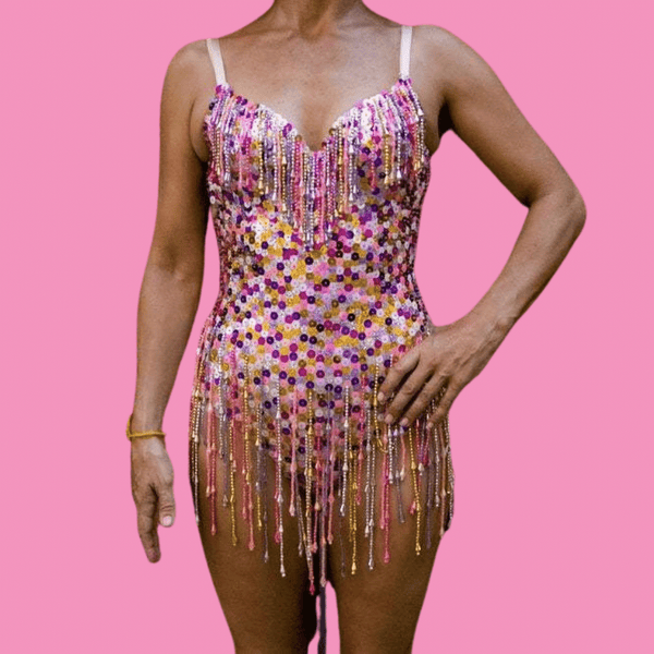 Pink Sequin Booty Playsuit with Purple Silver Gold Beads