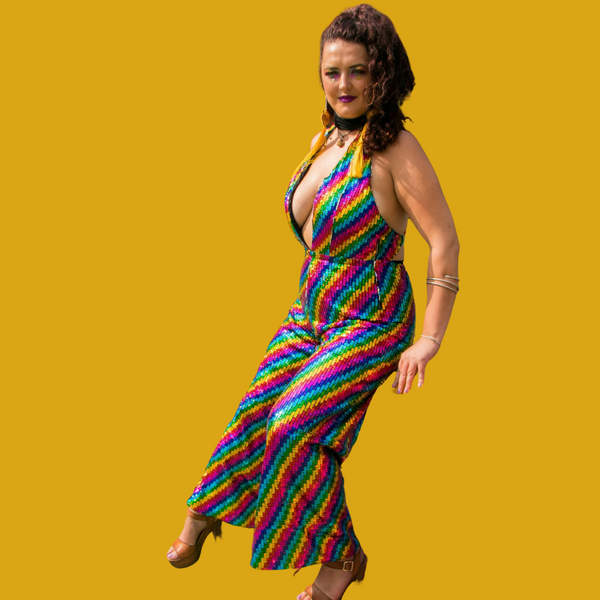 Rainbow Striped Sequin Jumpsuit with Plunge Neckline