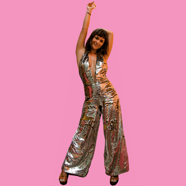 Mirror Ball Silver / Gold reversible Sequins Jumpsuit