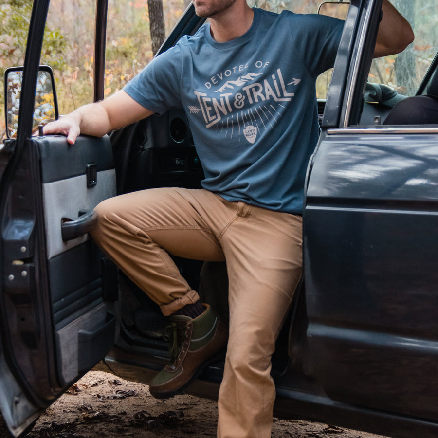 Devotee of Tent and Trail t-shirt in slate