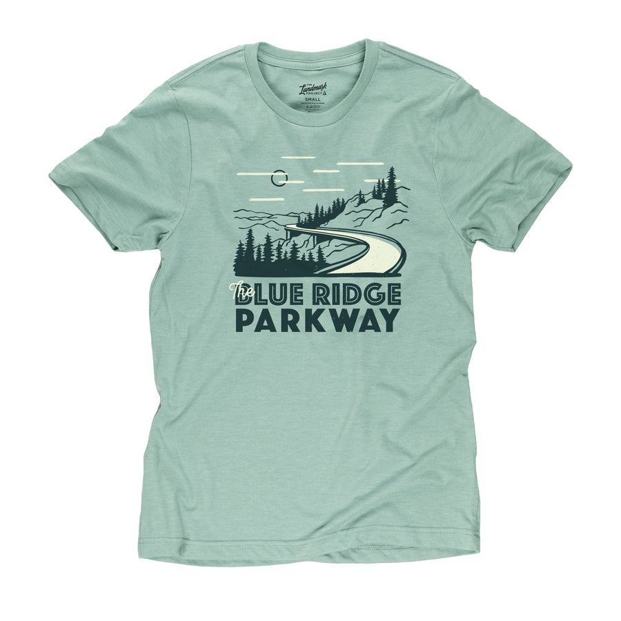 Blue Ridge Parkway motif t-shirt in seafoam