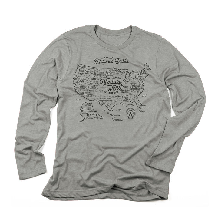 NPS Map Long Sleeve t-shirt in smoke grey