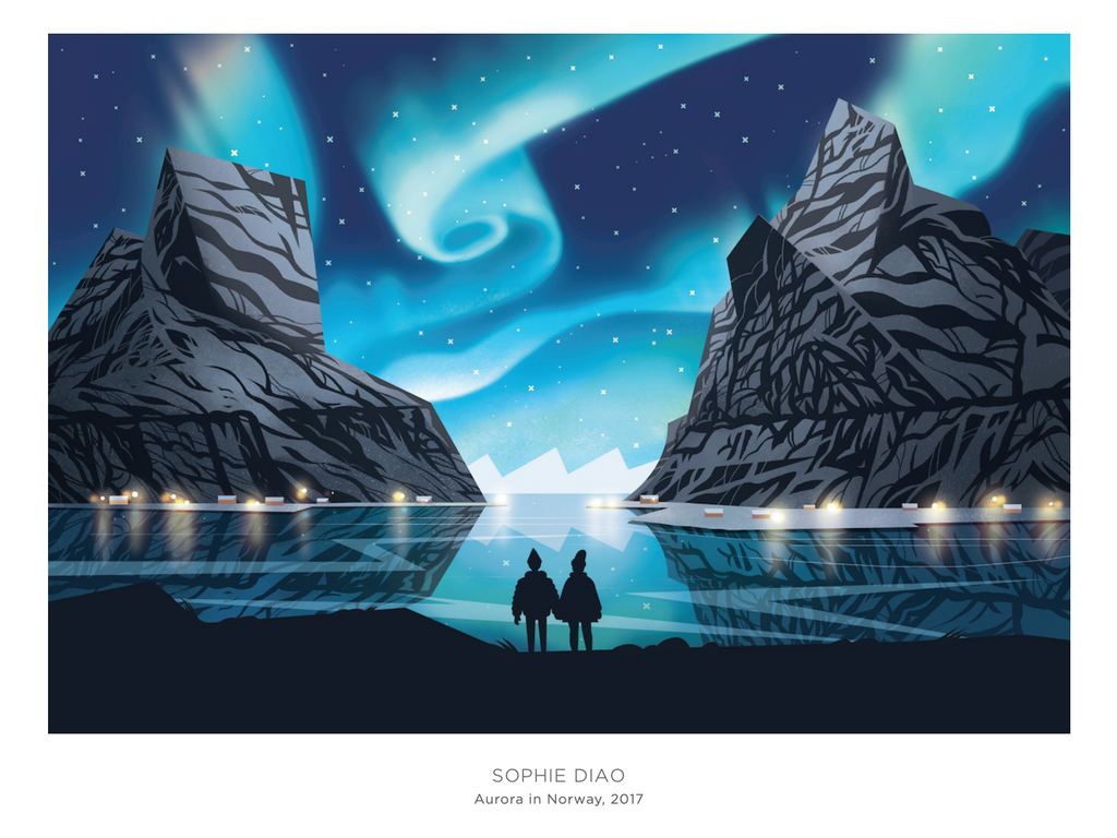 Aurora in Norway Print by Sophie Diao