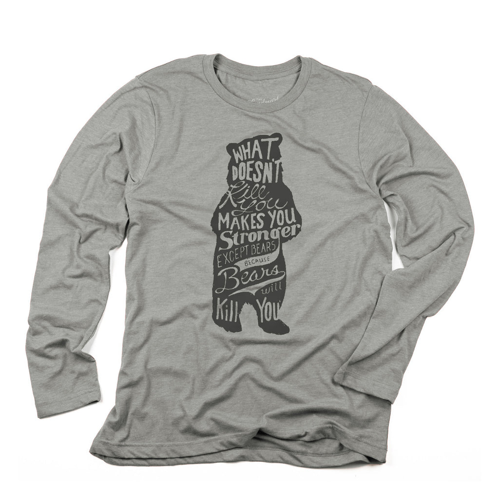Bear Long Sleeve t-shirt in smoke grey