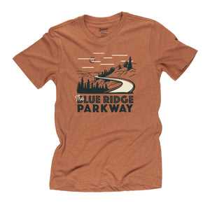 Blue Ridge Parkway motif t-shirt in clay