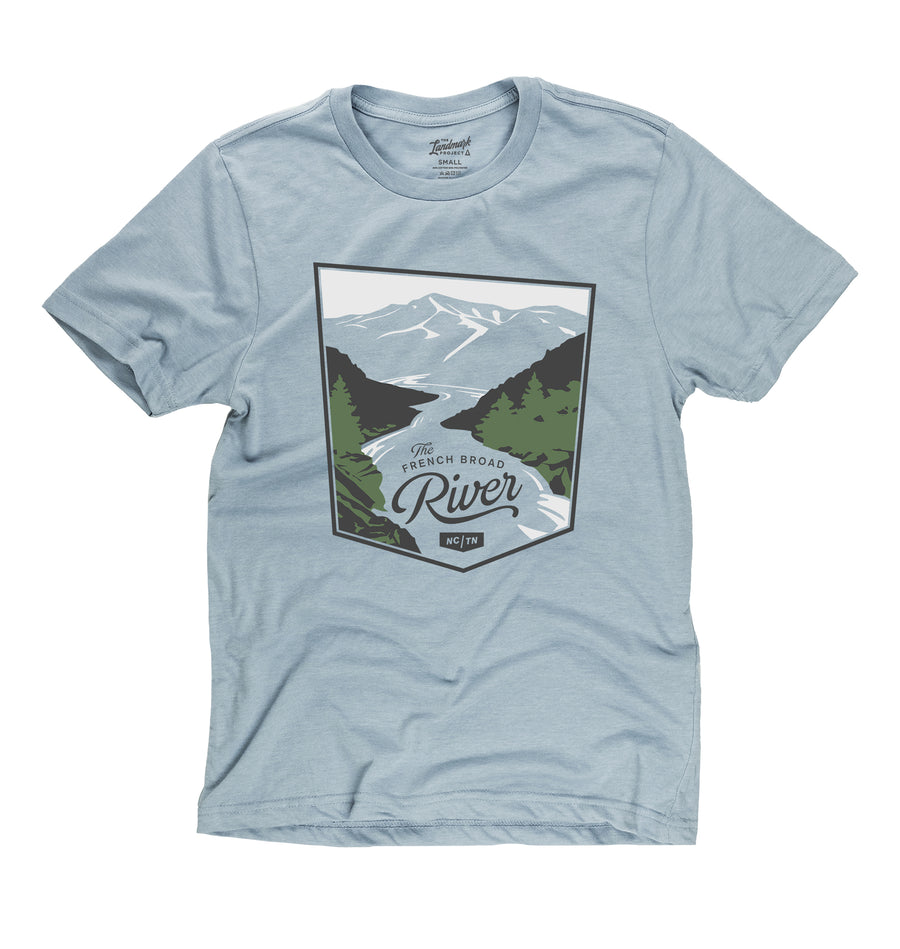 French Broad River t-shirt in chambray