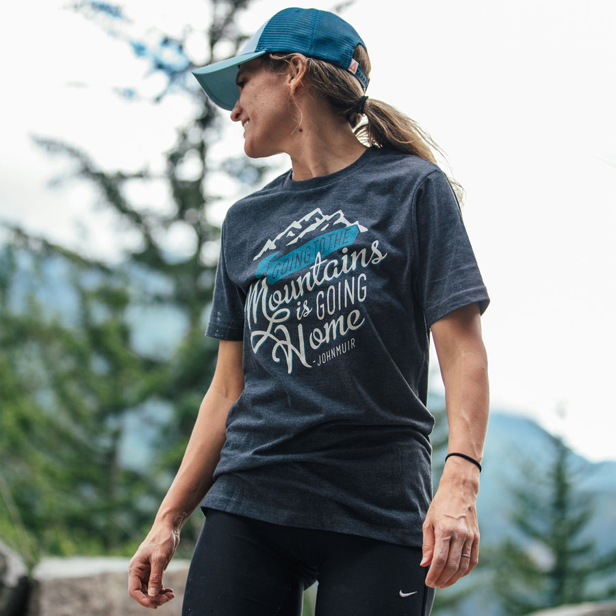 Going to the Mountains t-shirt in pirate black