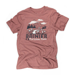 Mount Rainier Motif t-shirt in redrocks