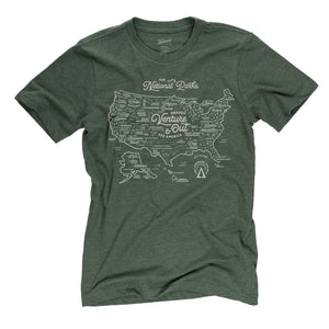 NPS Map t-shirt in conifer