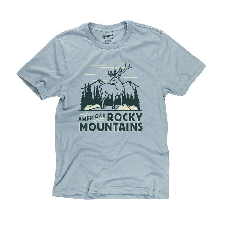 Rocky Mountains National Park Motif t-shirt in chambray blue