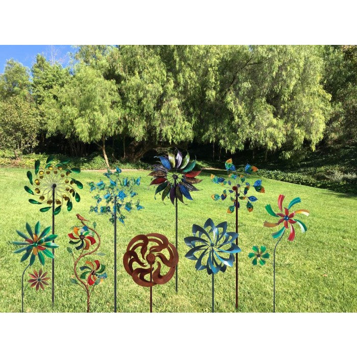 "75"" Peacock Tail Windmill Garden Stake - Giftspiration"