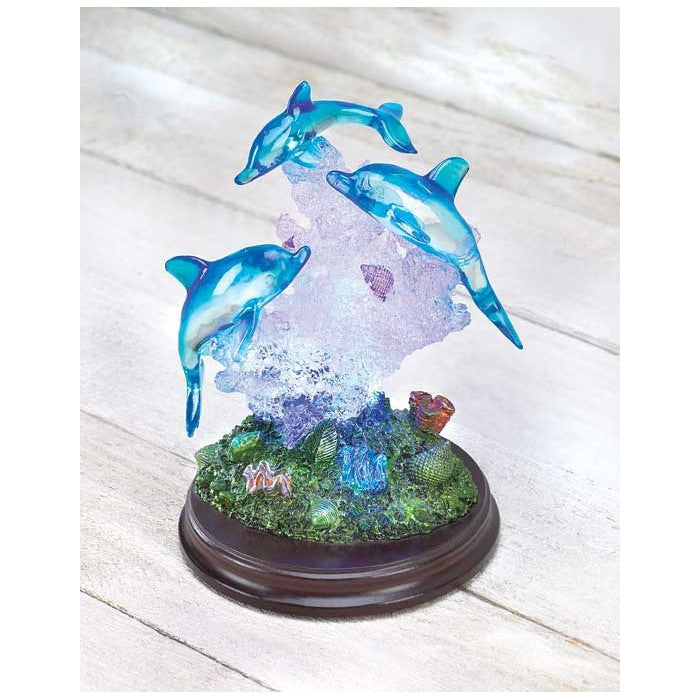 Dolphins on Wood Base with LED Lights - Giftspiration