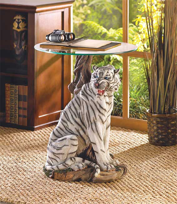 White Tiger Accent Table - Giftspiration