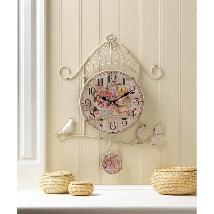 Birdcage Country Rose Wall Clock - Giftspiration