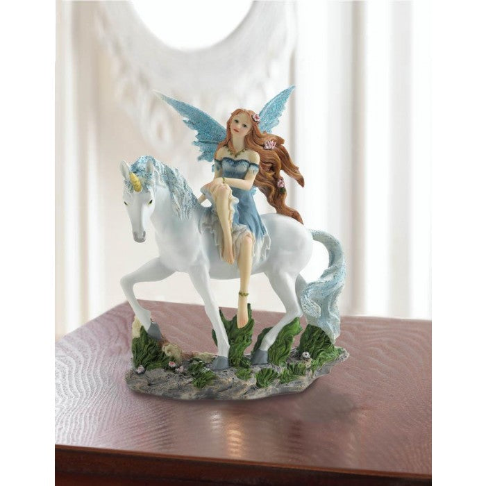 Blue Fairy And Unicorn Figurine - Giftspiration