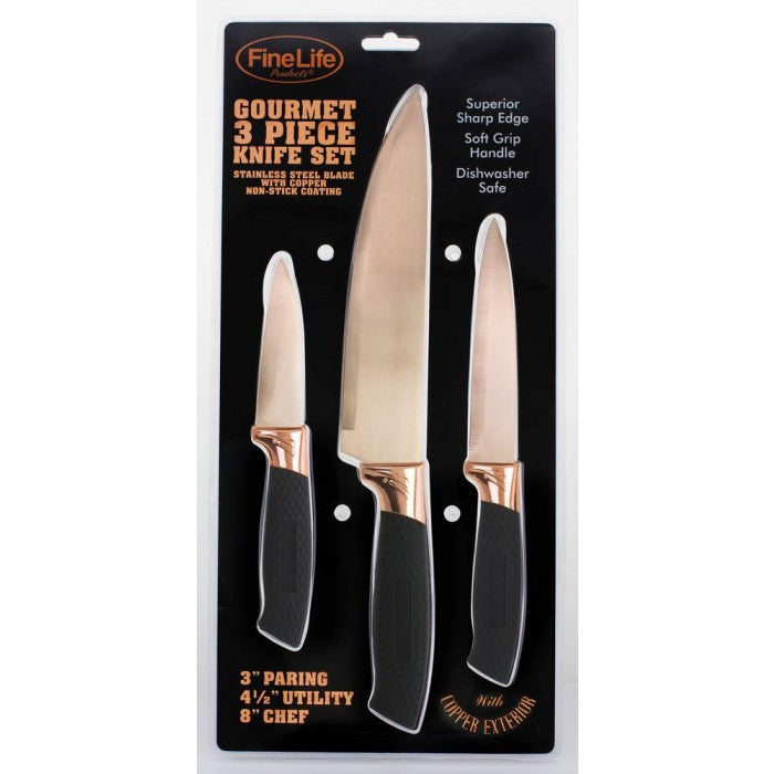 Copper Blade 3 Pc Knife Set - Giftspiration