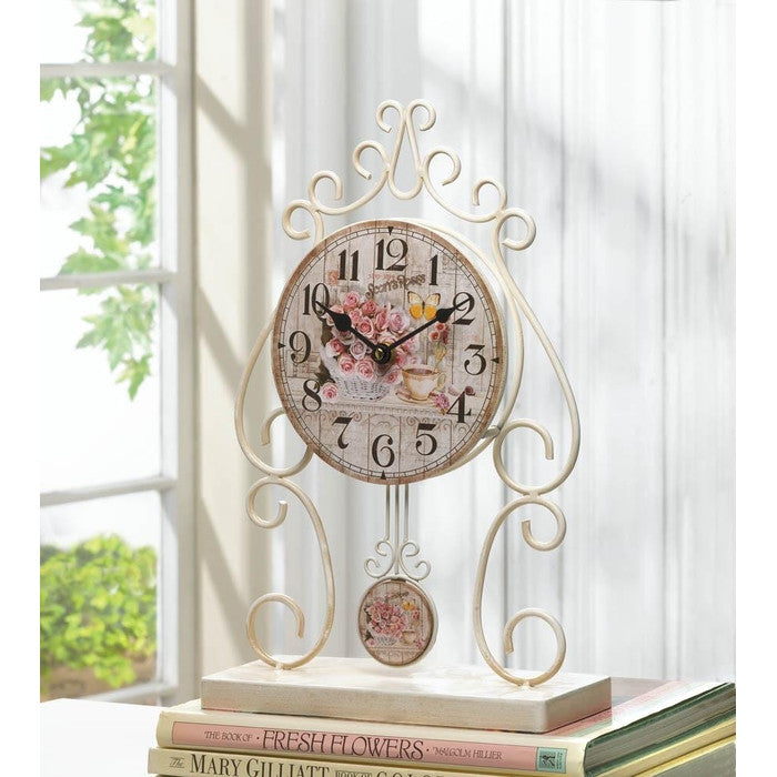 Country Rose Tabletop Clock - Giftspiration