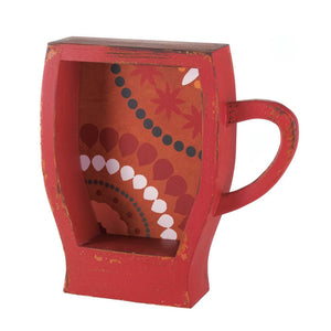 Distressed Red Coffee Cup Shelf - Giftspiration