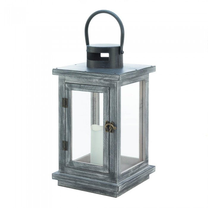 Distressed Gray Lantern with LED Candle - Giftspiration