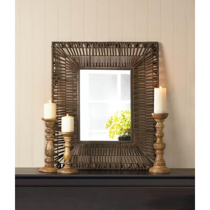 Faux Rattan Rectangular Wall Mirror - Giftspiration