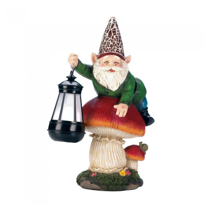 Gnome On Mushroom Solar Statue - Giftspiration