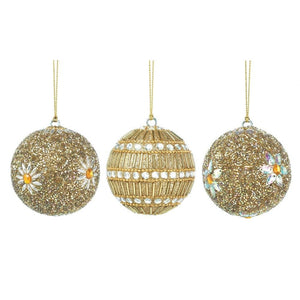 Golden Beaded Ball Ornament Trio - Giftspiration