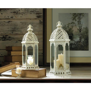 Graceful Distressed White Lantern (L) - Giftspiration