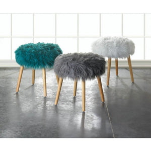 Gray Faux Fur Footstool - 10018180 - Giftspiration
