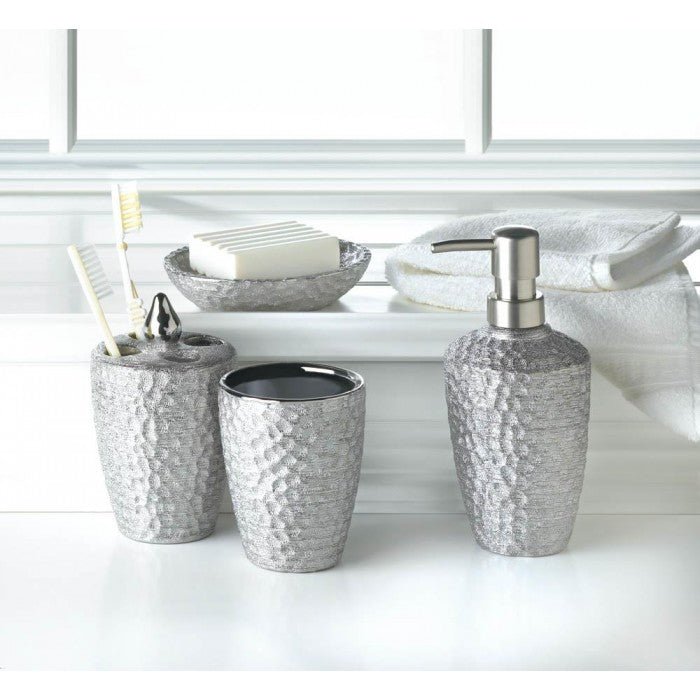 Hammered Silver Bath Accessory Set - Giftspiration
